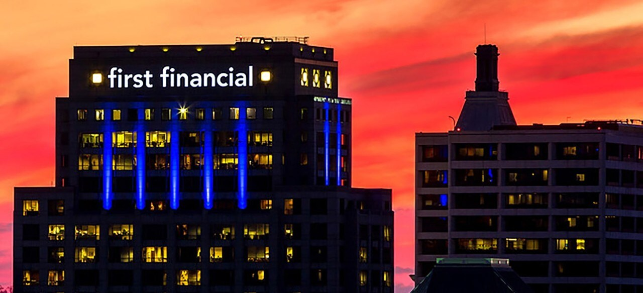 First Financial Center building at sunset