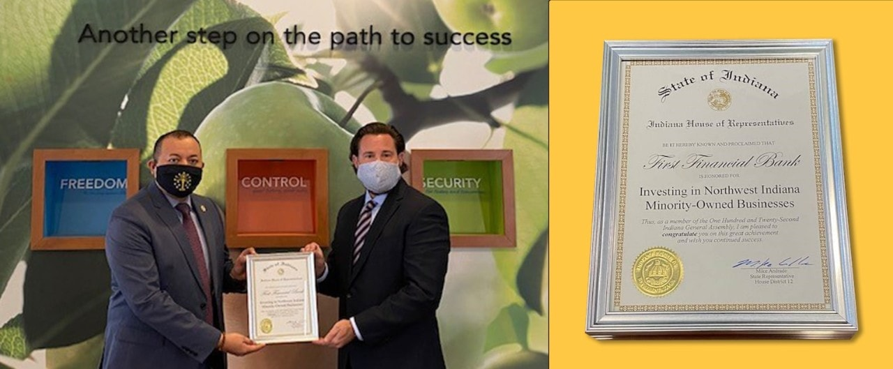 Collage of Indiana state representative Mike Andrade presenting certificate of recognition to Michael Schneider, FFB's commercial market president for NW Indiana, alongside image of certificate