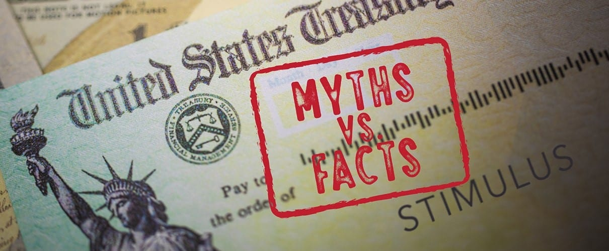 Stimulus check with a stamp box saying Myths vs. Factts